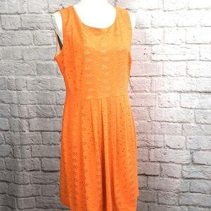 En Focus Studio Women's Orange Eyelet Stretch Knit